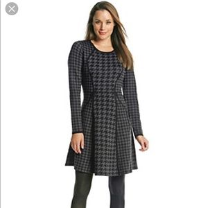 Calvin Klein | Blue & Black Houndstooth Knit Dress